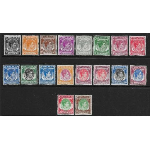 SINGAPORE SG16/30 1949-52 DEFINITIVE SET p17½x18 MTD MINT