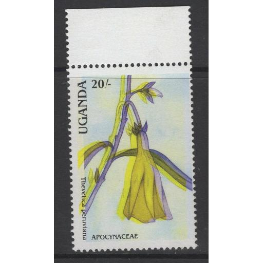 UGANDA SG635var 1988 20/- FLOWERS WITH YELLOW & BLACK MISPLACED MNH