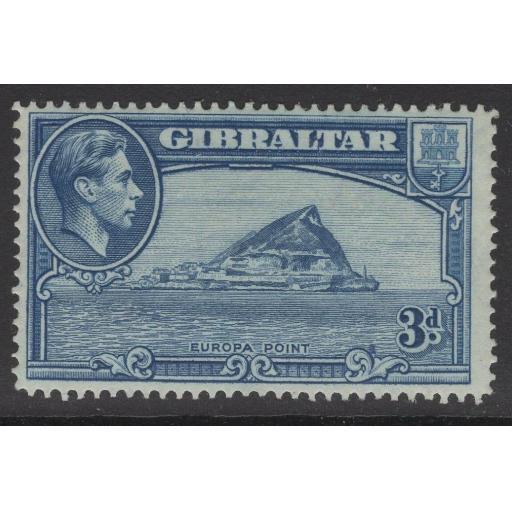 GIBRALTAR SG125a 1938 3d LIGHT BLUE p14 MTD MINT