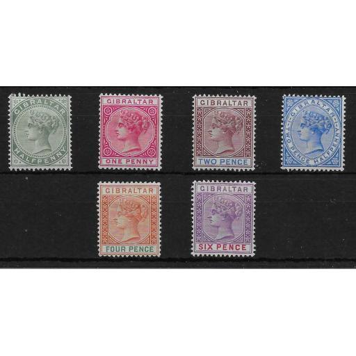 GIBRALTAR SG39/44 1898 DEFINITIVE SET TO 6d MTD MINT