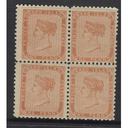 PRINCE EDWARD ISLAND SG6 1862 1d BROWN-ORANGE MTD MINT BLOCK OF 4