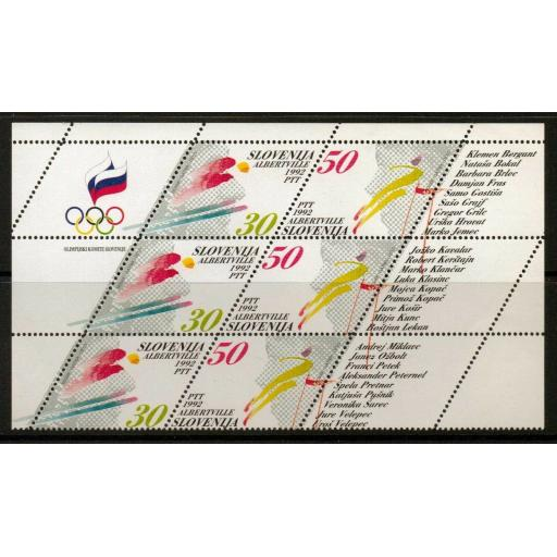SLOVENIA SG139/40 1992 WINTER OLYMPIC GAMES SHEETLET MNH