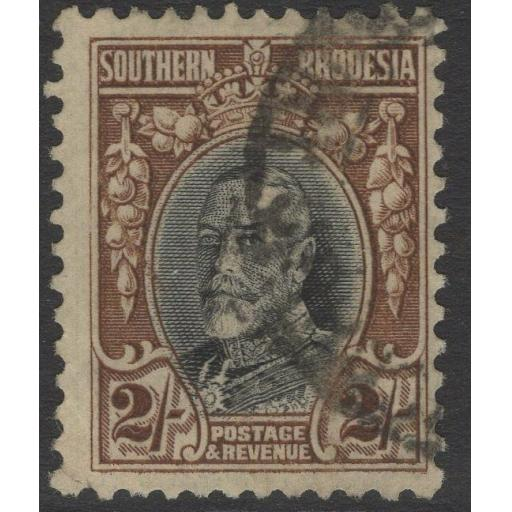 SOUTHERN RHODESIA SG25a 1933 2/= BLACK & BROWN p11½ FINE USED