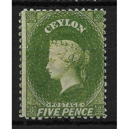 CEYLON SG66b 1867-70 5d OLIVE-GREEN MTD MINT