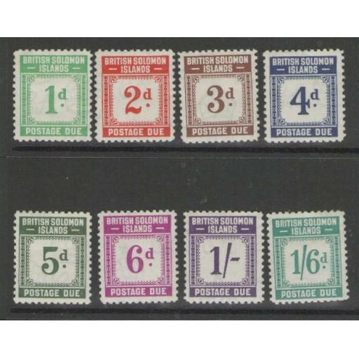 BRITISH SOLOMON IS. SGD1/8 1940 POSTAGE DUE SET MTD MINT