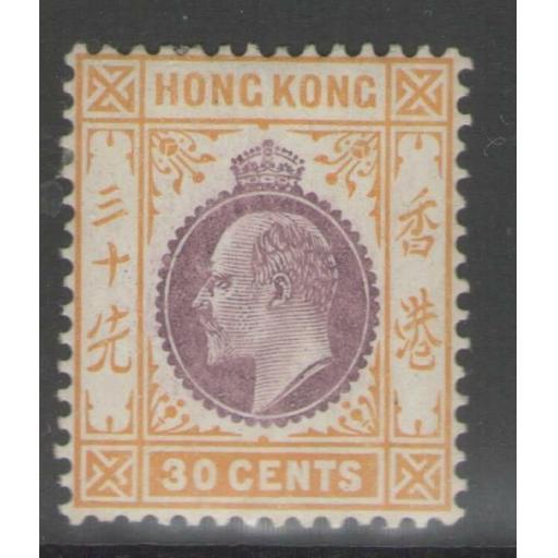 HONG KONG SG97 1911 30c PURPLE & ORANGE-YELLOW MTD MINT