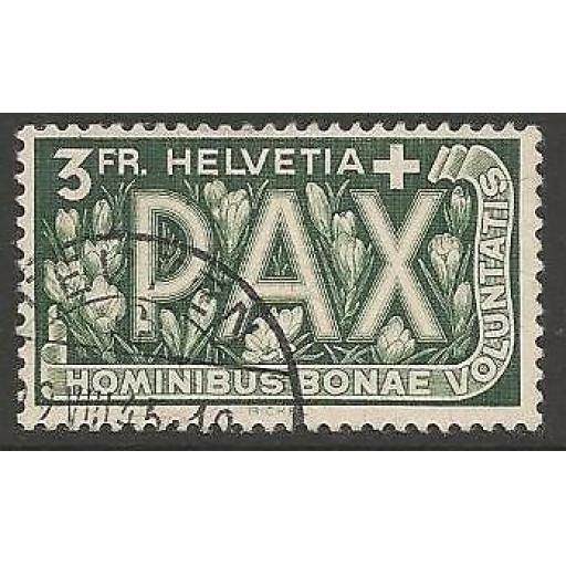 SWITZERLAND SG457 1945 3f PEACE FINE USED