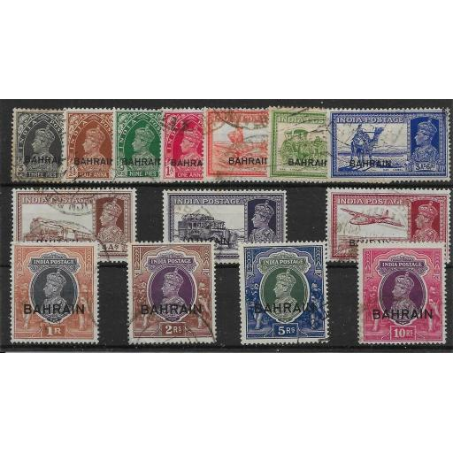BAHRAIN SG20/35 1938-41 DEFINITIVE SET TO 10r USED
