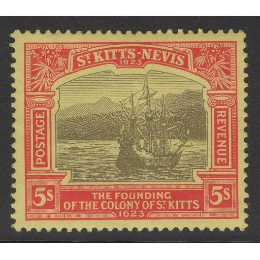 ST.KITTS-NEVIS SG59 1923 5/= BLACK & RED/PALE YELLOW MTD MINT