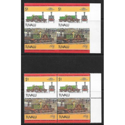 TUVALU SG319a 1985 RAILWAY LOCOS $1 IMPERF PAIR MNH