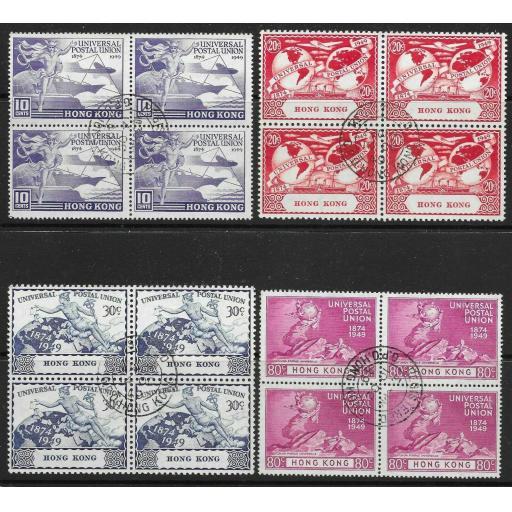 HONG KONG SG173/6 1949 U.P.U. SET USED BLOCKS OF 4