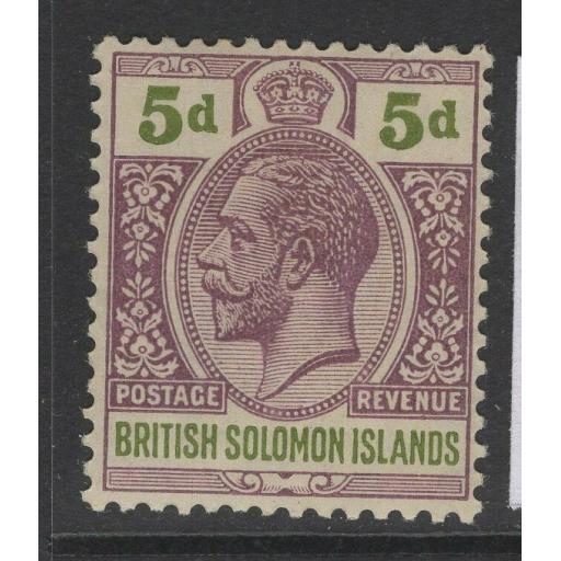 BRITISH SOLOMON IS. SG31 1914 5d BROWN-PURPLE & OLIVE-GREEN MTD MINT