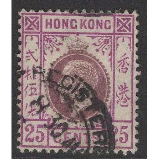 HONG KONG SG109 1919 25c PURPLE & MAGENTA USED