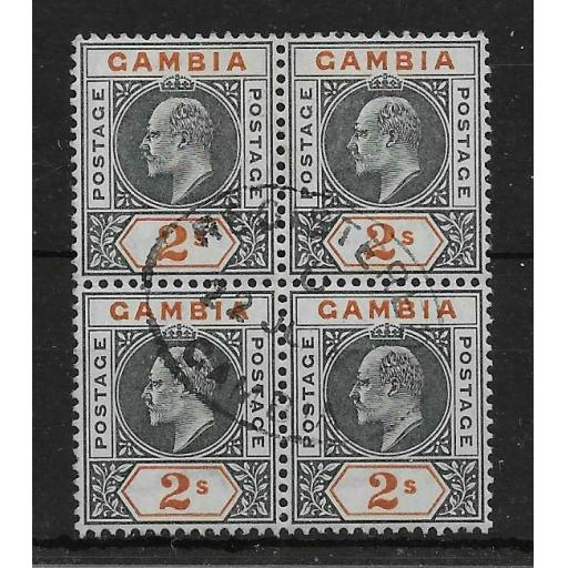 GAMBIA SG54 1902 2/= DEEP SLATE & ORANGE USED BLOCK OF 4