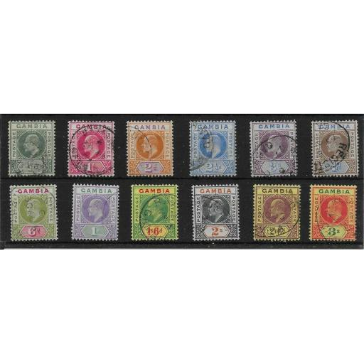 GAMBIA SG45/56 1902-5 CROWN CA DEFINITIVE SET USED
