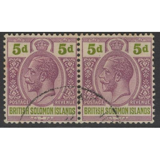 BRITISH SOLOMON IS. SG46 1927 5d DULL PURPLE & OLIVE-GREEN FINE USED PAIR