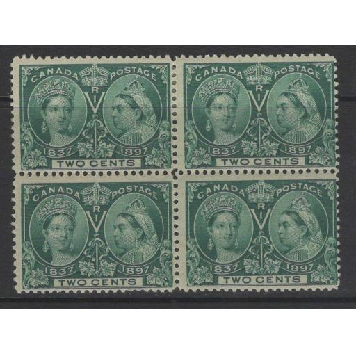 CANADA SG125 1897 2c DEEP GREEN MTD MINT BLOCK OF 4