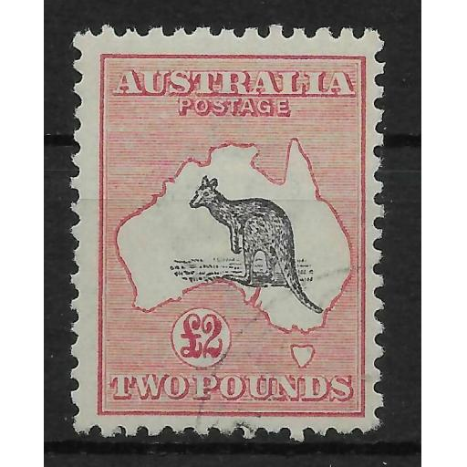 AUSTRALIA SG45b 1915 2 PURPLE-BLACK & PALE ROSE KANGAROO USED