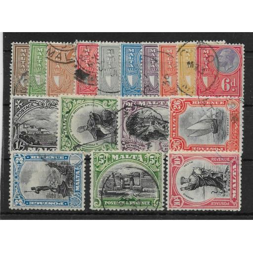 MALTA SG193/209 1930 POSTAGE & REVENUE DEFINITIVE SET USED