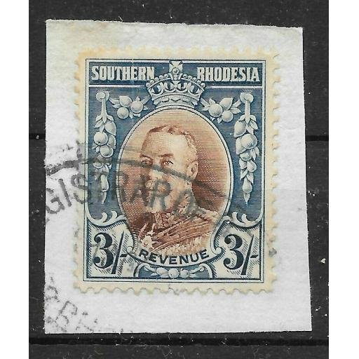SOUTHERN RHODESIA Bft 9 1931 3/= BLUE & BROWN REVENUE USED ON PIECE