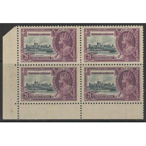 TRINIDAD & TOBAGO SG242a 1935 S.JUBILEE 24c EXTRA FLAGSTAFF MTD MINT IN BLK OF 4