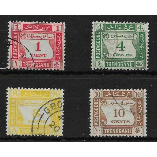 MALAYA TRENGGANU SGD1/4 1937 POSTAGE DUE SET USED