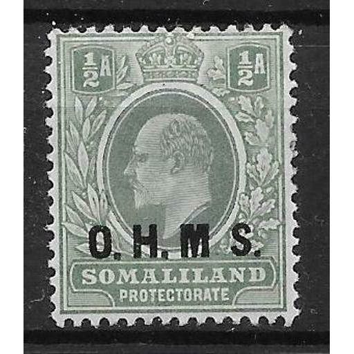 "SOMALILAND SGO10a 1904 ½a DULL GREEN & GREEN NO STOP AFTER ""M"" MTD MINT"