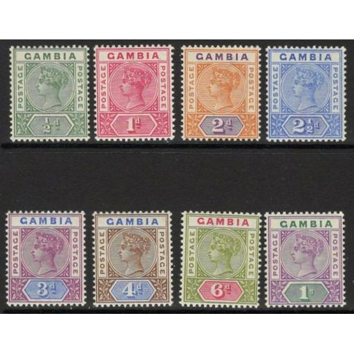 GAMBIA SG37/44 1898 DEFINITIVE SET MTD MINT