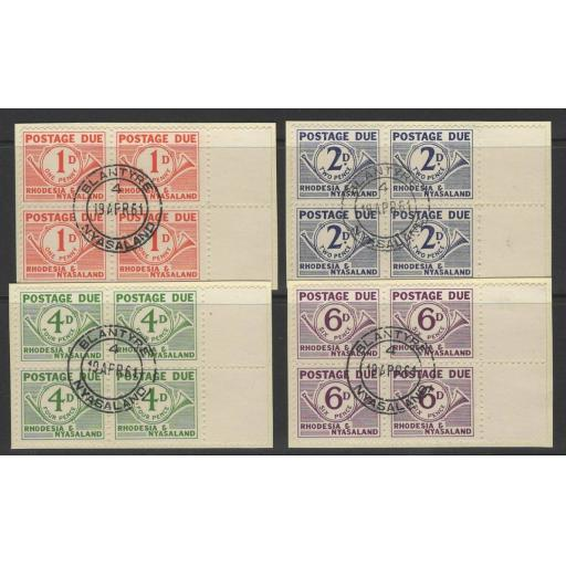 RHODESIA & NYASALAND SGD1/4 1961 POSTAGE DUES BLOCKS OF 4 FINE USED