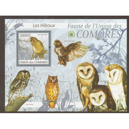 COMORES 2009 OWLS SHEETLET MNH