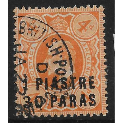 BRITISH LEVANT SG19 1909 1pi30 ON 4d BROWN-ORANGE USED