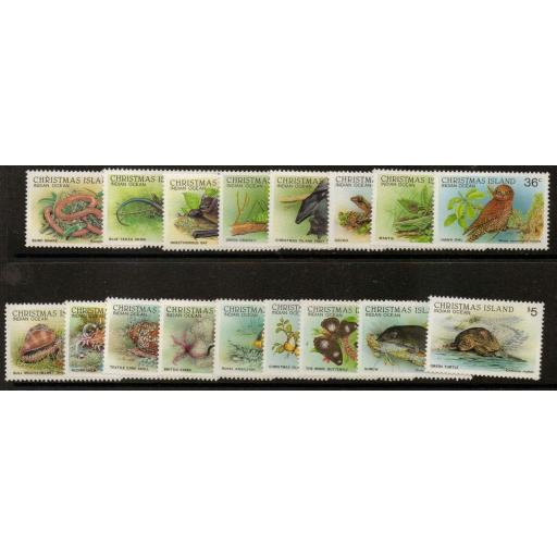 CHRISTMAS ISLAND SG229/44 1987 WILDLIFE MNH