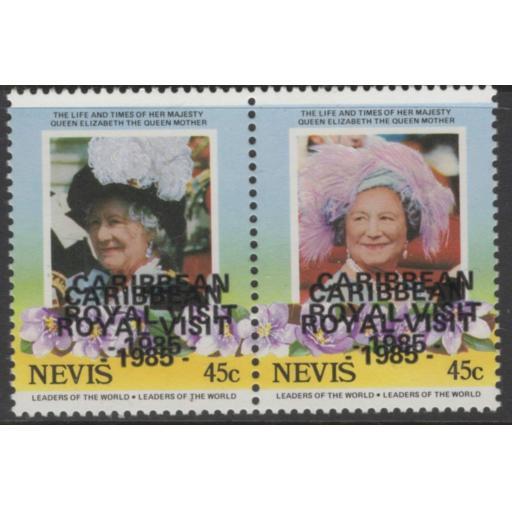 NEVIS SG342avar 1985 45c ROYAL VISIT OVERPRINT DOUBLE MNH