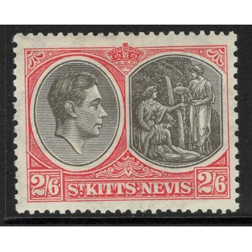 ST.KITTS-NEVIS SG76 1938 2/6 BLACK & SCARLET MTD MINT