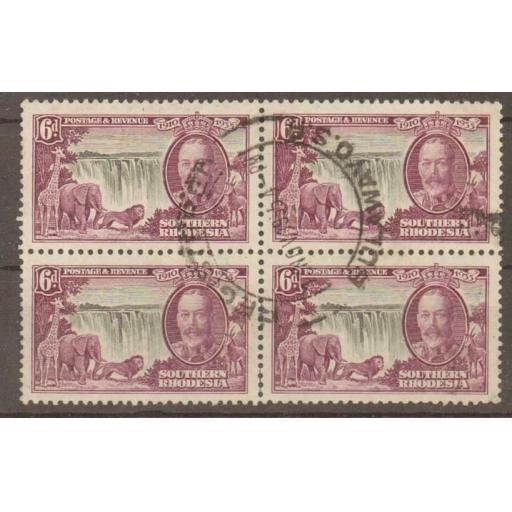 SOUTHERN RHODESIA SG34 1935 6d SILVER JUBILEE USED BLOCK OF 4