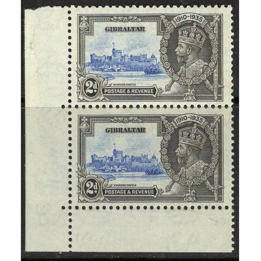 """GIBRALTAR SG114/a 1935 2d S.JUBILEE """"EXTRA FLAGSTAFF"""" MNH"""