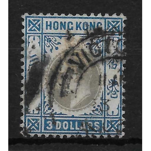 HONG KONG SG74 1903 $3 SLATE & DULL BLUE HEAVY USED