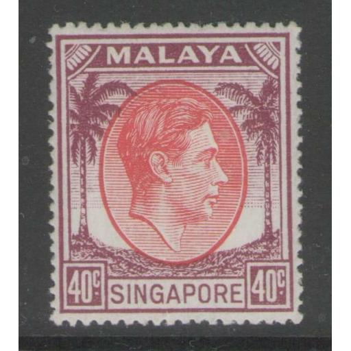 SINGAPORE SG26 1951 40c RED & PURPLE p17½x18 MTD MINT
