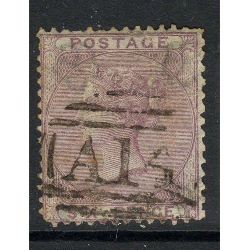 "TOBAGO SGZ3 1856 6d LILAC WITH ""A14"" CANCEL USED"