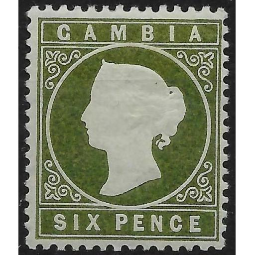GAMBIA SG33a 1889 3d BRONZE-GREEN SLOPING LABEL VAR MTD MINT