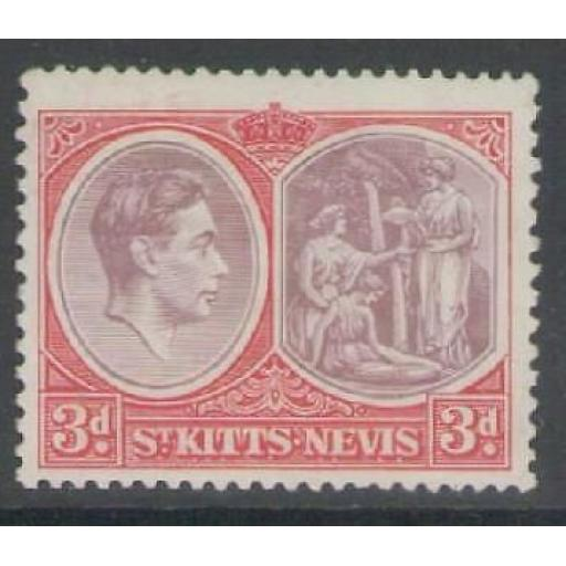 ST.KITTS-NEVIS SG73a 1940 3d BROWN-PURPLE & CARMINE-RED CHALKY PAPER MTD MINT