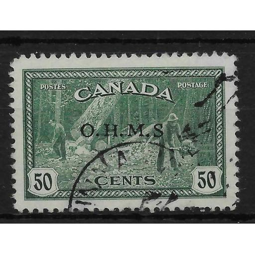 CANADA SGO169a 1949 50c GREEN OFFICIAL MISSING STOP VAR USED