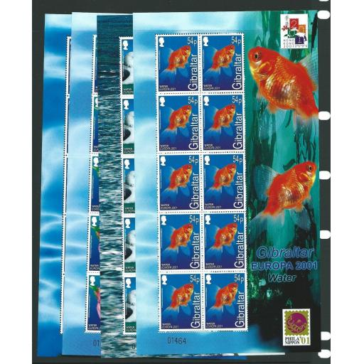 GIBRALTAR SG968/71 2001 EUROPA (WATER & NATURE) SHEETLETS MNH