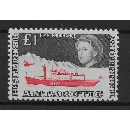 BRITISH ANTARCTIC TERR. SG15a 1969 1 RED & BROWNISH-BLACK MNH