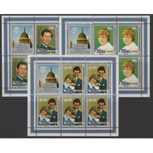 NIUE SG465/7 1982 BIRTH OF PRINCE WILLIAM SHEETLETS MNH