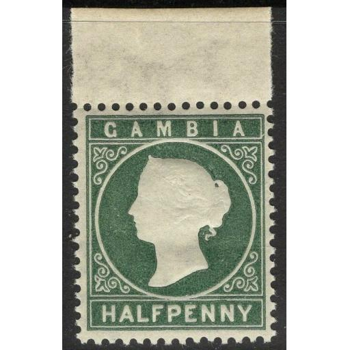 GAMBIA SG21w 1886 ½d MYRTLE-GREEN WMK CROWN TO RIGHT OF CA MNH