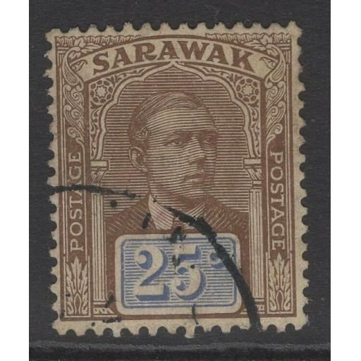 SARAWAK SG59 1918 25c BROWN & BRIGHT BLUE FINE USED