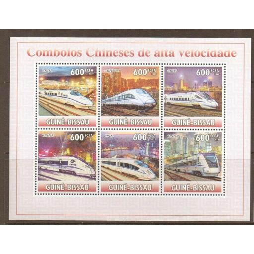 G.BISSAU 2010 FAST TRAINS S/SHEET MNH