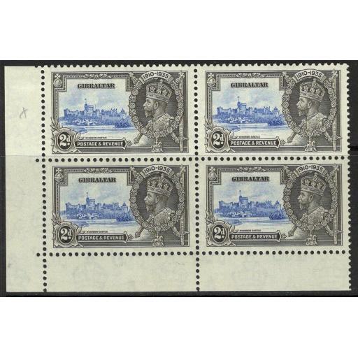 """GIBRALTAR SG114/a 1935 2d S.JUBILEE """"EXTRA FLAGSTAFF"""" MNH BLK OF 4 (1xSG114 LMM)"""