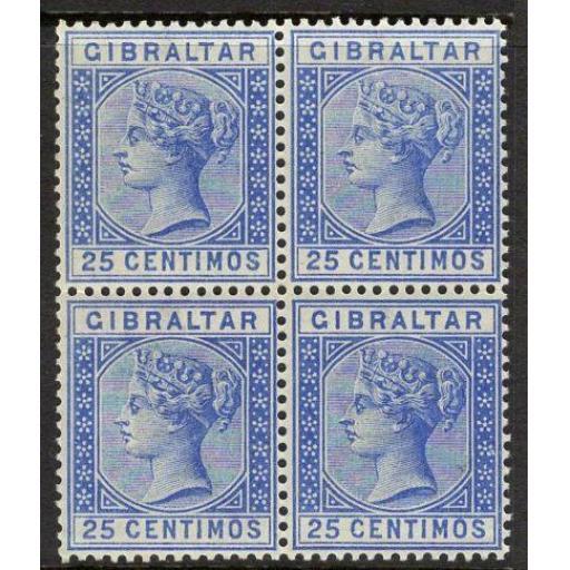 GIBRALTAR SG26a 1889 25c DEEP ULTRAMARINE MNH BLOCK OF 4(1 x LIGHTLY MOUNTED)